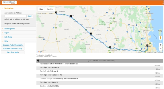 IntelliTrac Route Optimisate Journey Management Plan